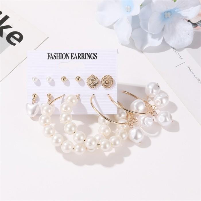 New Fashion Simple Set Earrings Temperament Pearl Love Big Circle Earrings 6 Pairs Earrings