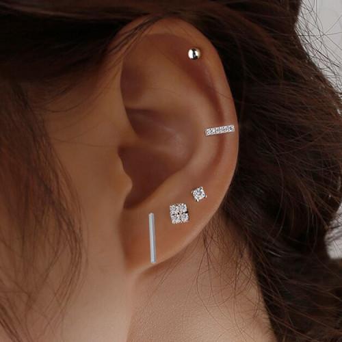 2021 Korean Fashion Diamond-Studded Geometric Earrings Set Niche Design Sense Personality Net Red Tide Earrings Five-Piece