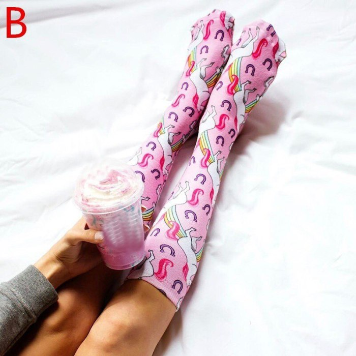 Summer Fashion Mermaid Unicorn Print Knee High Socks