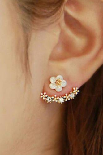 Korean Fashion Daisies Stud Earrings Temperament Simple Flower Double Sided Earrings For Women Statement Jewelry Studs