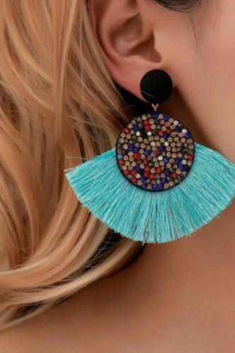 Bohemian Exaggerated Retro Fashion Jewelry Colored Zircon Fan Shaped Tassel Earrings For Women Feature Namour Charm Gift