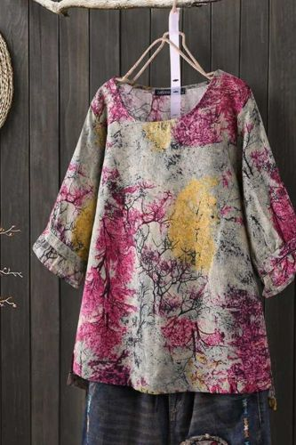 2021 New Women Vintage Cotton Linen Top Spring Floral Printed Blouse Ruffle Sleeve Shirt Casual Tunic Lace Patchwork Blusa