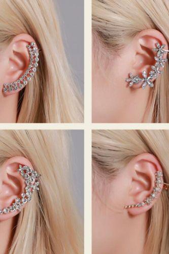 New fashion Full  butterfly flower crystal ear clip Fashionable catwalk earringsFor Women girl Accessories  jewelry wholesale