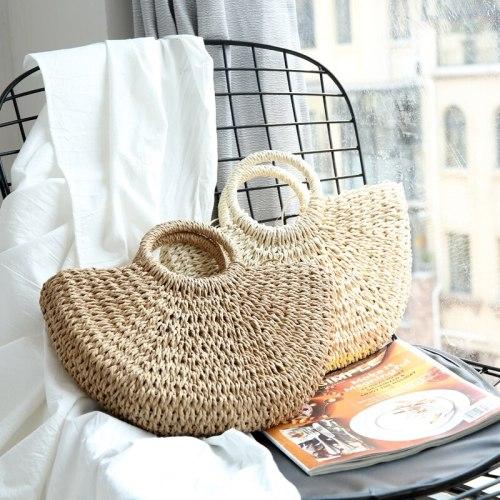 Summer Straw Circular Square Women Shoulder Bag Handmade Woven Bohemian Handbag Summer Beach Lady Large Capacity Wicker Tote