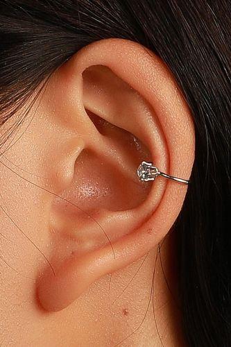 Korea Simple Zircon C-Shaped Non-Hole Ear Clip Ins Retro Trendy Metal Earring