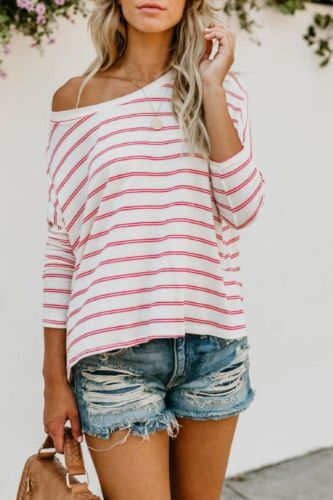 Fall 2021 New Women'S Hot Style Striped Slanted Shoulder Long-Sleeved Loose Casual T-Shirt