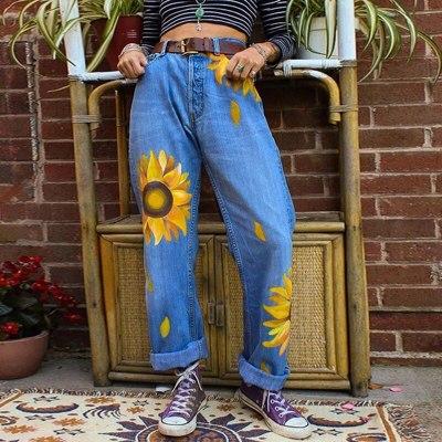 Sunflower Jeans For Women Jeans Loose Pant 2020 Autumn Winter Ladies Denim Trousers Retro Streetwear Boyfriends Woman Jeans