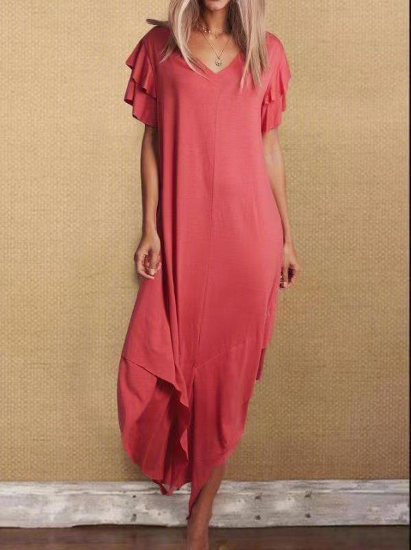 Women's Dress Satin Comfortable Vintage Summer Casual Floral Printing neck Long Sleeve Irregular Loose Ankle Length Dress