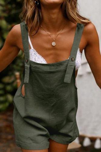 Women Jumpsuit Sleeveless Pocket Solid Color Adjustable Buttons backless Suspender Romper Playsuit Summer Suspender jumpsuit