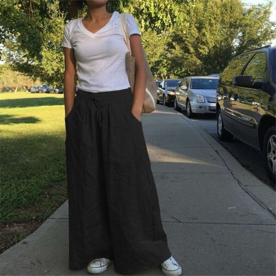 Fashion Bottoms for Women Eid Mubarak Dubai Saudi Arabia Solid High Waist Casual Islamic Clothing Abaya Baggy Pants