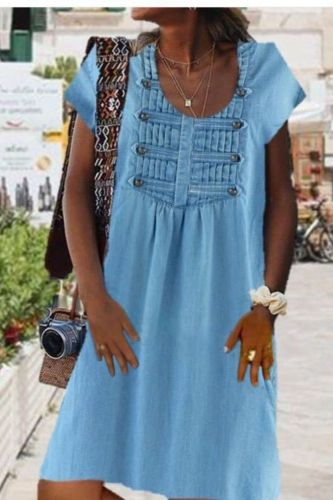 Women's Vintage Summer Fashion Dress Button V-neck Medium Sundress Length Denim Short Sleeve Elegant Dress Женское Платье 2021