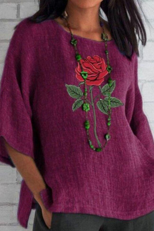 Women Blouse Shirts 2021 Autumn Elegant Vintage O-Neck Flower Print Tops Female Casual Three Quarter Flare Sleeves Blouses Blusa