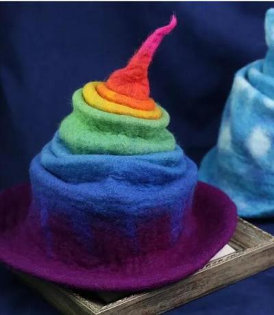 Handmade Wool Felt Hat Rainbow Gradient Wizard Hat