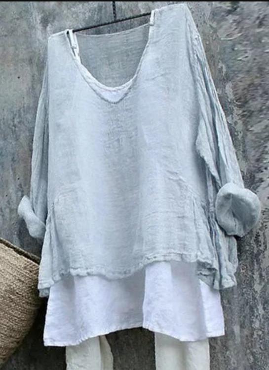 Women Thin Summer Linen Plus Size Tops