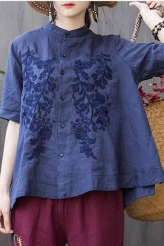 Stand Collar Tops New 2021 Summer Casual Short Sleeve Solid Color Embroidery Loose 5 Colors Women Shirts