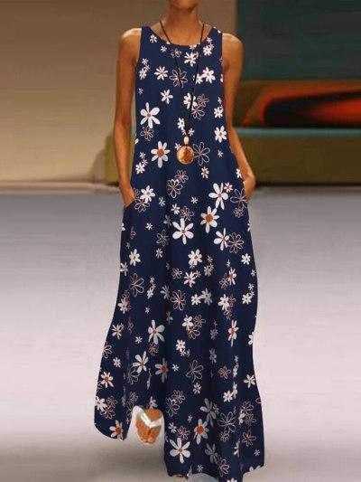 Women Sexy Dress 2021 Summer New Bohemian Round Neck Pullover Sleeveless Floral Print Vest Vestido Long Dresses Women'S Woman