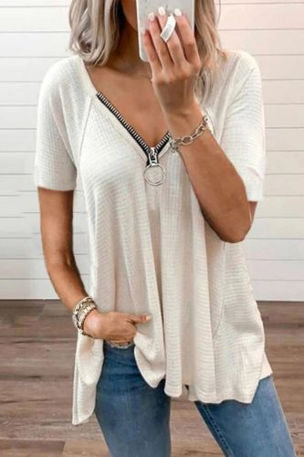 Summer Elegant Hollow Out Short Sleeve Blouse Shirts Women Casual V-Neck Zipper Pullover Female Fashion Loose Solid Tops Blusas