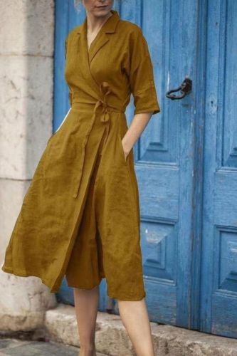 2021 New Style Cotton And Linen Mid-Sleeve Lace-Up Lapel Dress
