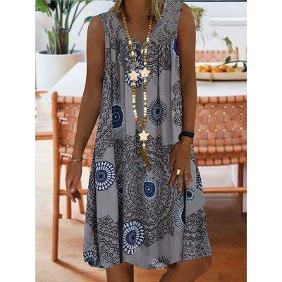 Large Size Women's Summer New Lace Stitching Printing Deep V-neck Sleeveless Dress