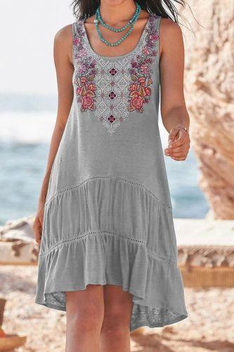 5XL Plus Size Women O-Neck Sexy Ruffles Short Sleeve Summer Flower Embroidery Midi Dress femme Loose Dresses