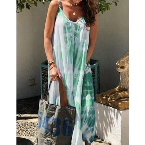 Long Dress Women Loose Summer Causal Fashion Plus Size Tie-dye Sleeveless Spaghetti Strap Womens Dresses