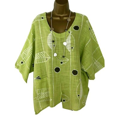 New Women Printed Fish Green T-Shirt Mujer Three Quarter Sleeve Breathable Soft Cotton Linen Tops Tees Plus Size 4XL 5XL Pockets