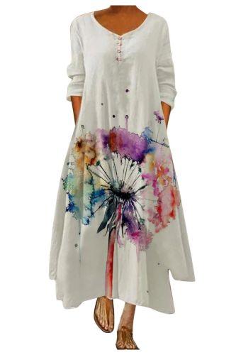 Women's Dress Half Sleeve Floral Print Long Dress O Neck Elegant Robe Casual Loose Boho Party Dresses 2021 Vestidos De Fiesta