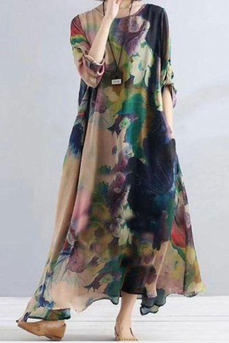 2021 Fashion Dress Printed Irregular Dress Women'S Swing Maxi Dress