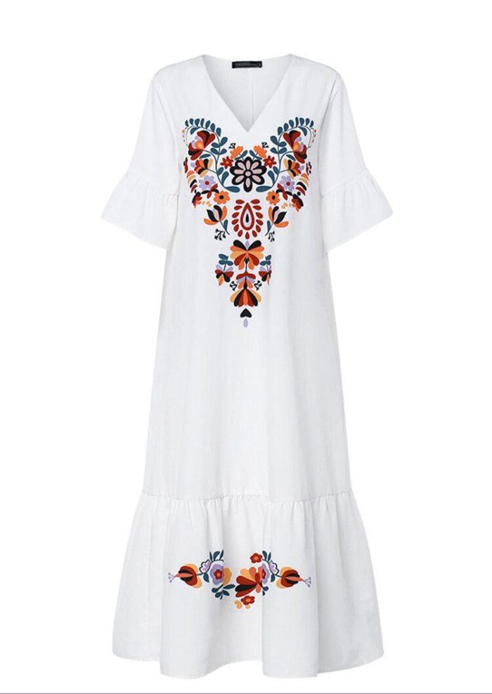 Women Maxi Long Dress Moroccan Kaftan Party Vestido Floral Robe Femme Musulman Prayer Garment Islamic Clothing