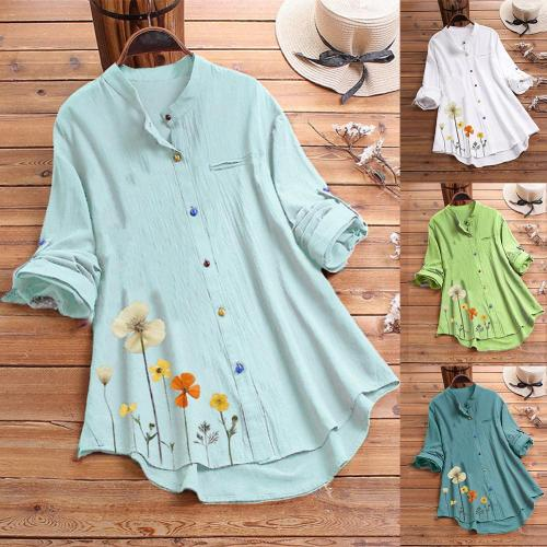 Women Casual Stand Collar Long Sleeve Floral Print Colorful Buttons Loose Shirt Casual Shirt Lapel Neck Blouse Work Shirt Tops