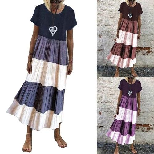 Women Stiching Sundress 2021 Elegant Summer Shirt Dress Half Sleeve Printed Maxi Vestidos Female V Neck Robe Plus Size M-3XL