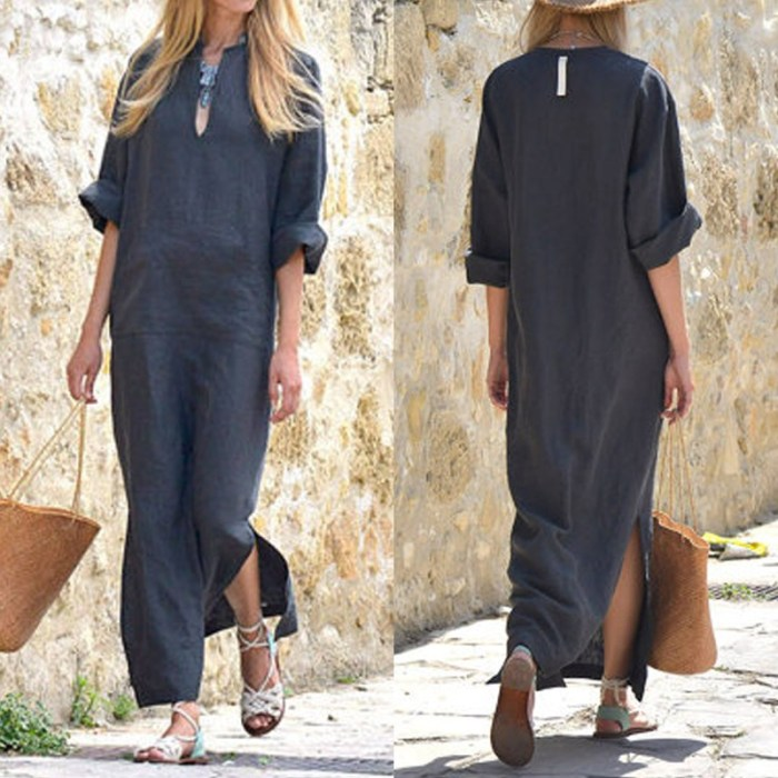 Women V Neck Solid Casual Cotton Casual Dress