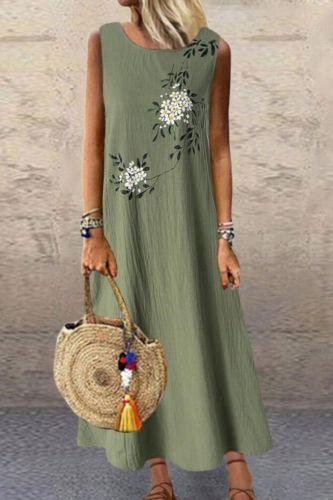 Sundress Women Summer Dress 2021 Printing Sexy Dress Midi Plus Size Casual Linen Loose Sleeveless printed Long Maxi Dress