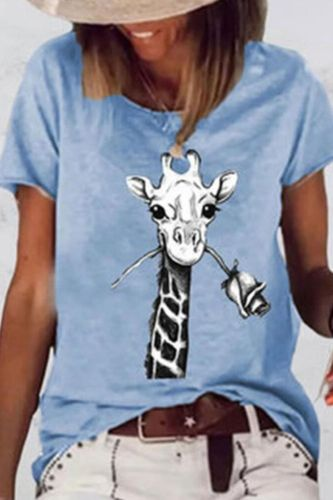 Women Elegant Short Sleeve Blouse Shirts Summer Casual Animal Print O Neck Tops Pullovers Female Loose Streetwear Shirt Blusas