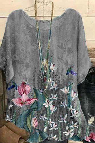 Women Temperament Commute T-shirt Summer Cotton and Linen Blue O-Neck Tops Printed Lotus Leaf Loose Short-sleeved Clothes