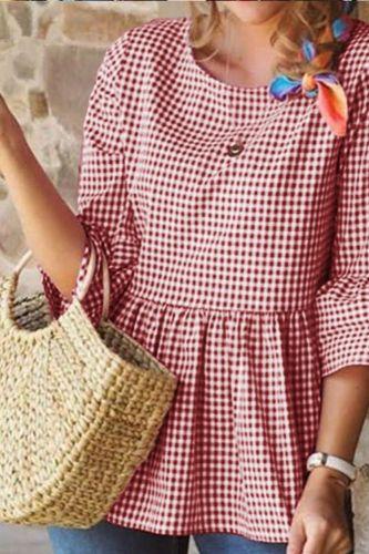 Plaid Print O Neck Casual Loose Half Sleeve Women Summer Blouse Shirt Ladies Harajuku Ruffles Tops Plus size S-5XL SJ6271M
