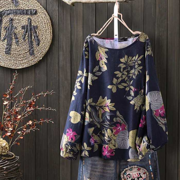 Women Vintage Floral Printed Blouse Spring Long Sleeve Shirt Bohemian Tunic Tops Casual Loose Cotton Linen Blusas Mujer