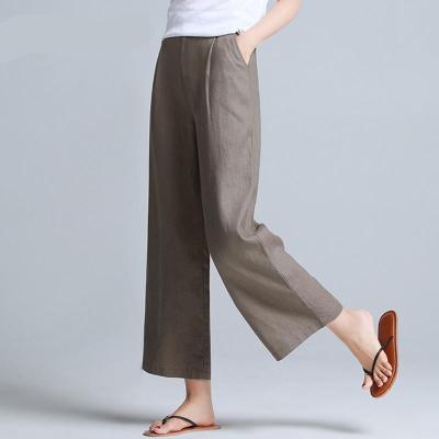 Cotton Linen Office Lady Elegant Pants 2021 Summer New Solid Wide Leg Wide Leg Ankle Length Female Pants