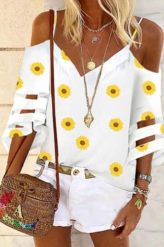 Summer Plus Size Women Middle Sleeve VIntage Daisy V-neck Strapless Tunic Top Shirts Blouse Women ropa de mujer L*55