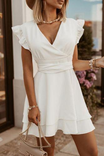 New Mid-Waist Fashion Temperament Commuter Skin Tone Short Pure Color Dress