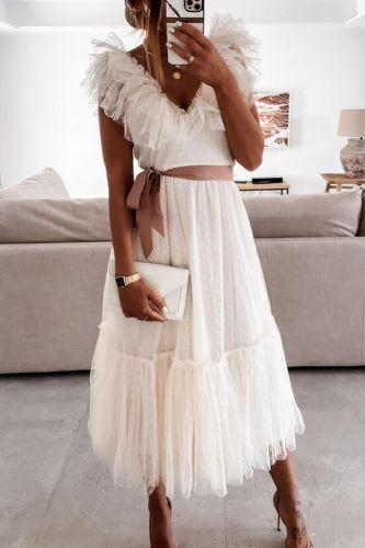 Elegant Off Shoulder Backless Party Sundress Women Elegant V Neck Ruffle Sleeveless Dress Summer Lace Mesh Spliced Long Dresses