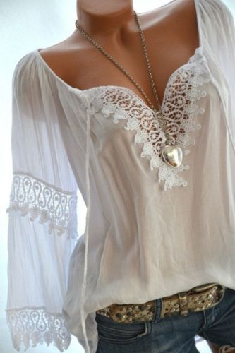 Large Size Loose Women Blouses 2021 Summer Blouses Lace Top Fashion Casual V-Neck Long Sleeve Women Shirts