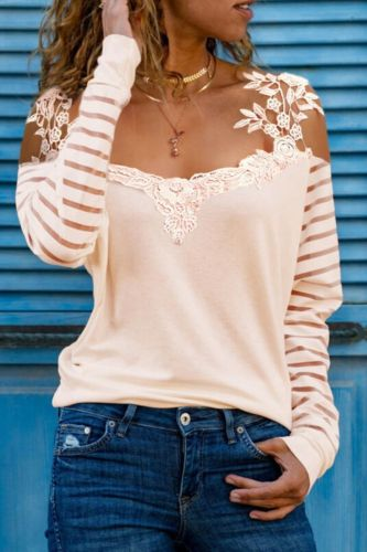 Women Elegant Patchwork Print T-Shirts 2021 Summer Casual Long Sleeve Pullover Tops Ladies Fashion Hollow Out V-Neck Tee Shirts