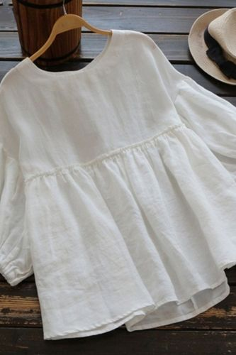 Women Casual O-Neck Loose Blouse Lantern Sleeve Top Summer Solid Tops Blouses