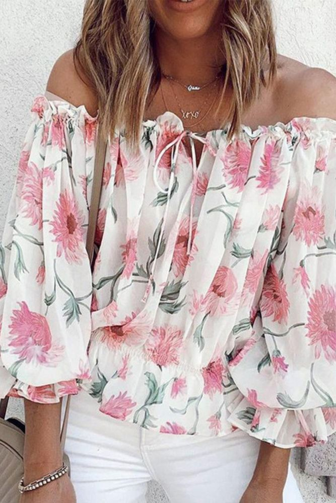 Elegant Floral Print Blouse Shirts Women 2021 Summer Sexy Slash Neck Pullover Tops Lady Casual Loose Lantern Long Sleeve Blusa