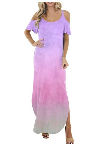 Summer Women's Plus Size Short Sleeve O-Neck Dress Casual Vacation Printed Straight Floor-Length Dress платье летнее женское