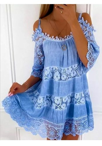 Lace flower women Dress Elegant Summer lace-up Loose Dress 2021 Fashion Hollow Out Top Sexy Lady Offical Clothes