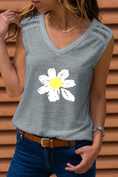 Beautiful Women T-Shirts V-Neck Sleeveless Outwear Daisy Printed T-shirt Vest Graphic Tops Soft Tees Ladies Clothes Outfits Set