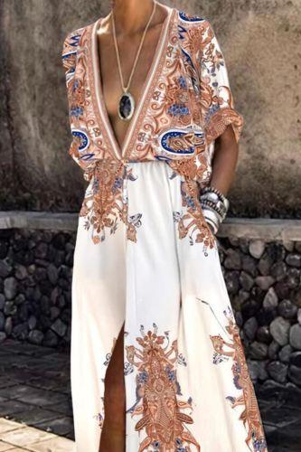 Fashion Elegant Short Sleeve Split Party Dresses Women Vintage Deep V Neck Boho Maxi Dress Casual Print Long Beach Dress Female