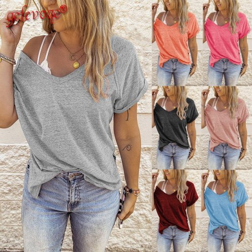 2021 Summer Clothes for Women Solid V-neck Tunic Tops Short Sleeve Streetwear T-shirt Casual Loose Simple Basic Tee Shirt Femme